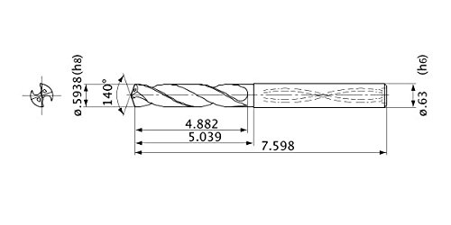 2.7 mm Point Length Mitsubishi Materials MVS1508X05S160 MVS Series Solid Carbide Drill 5 mm Hole Depth Internal Coolant 16 mm Shank Dia. 1581 mm Cutting Dia