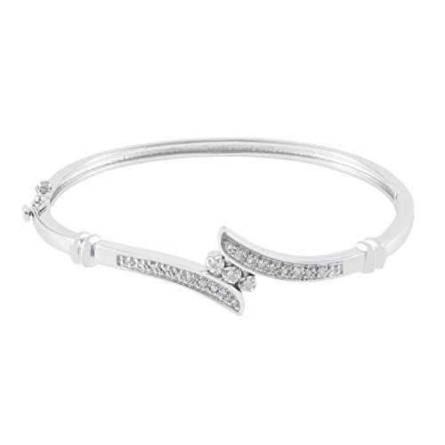 - JewelExclusive Sterling Silver1/4cttw Natural Round-Cut Diamond (J-K Color, I2-I3 Clarity) Bypass Bangle Bracelet