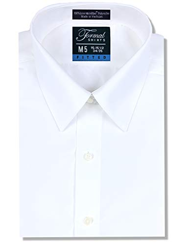 Luxe Microfiber Men's Fitted Dress Shirt Tuxedo Shirt Point Collar - Style Vince White