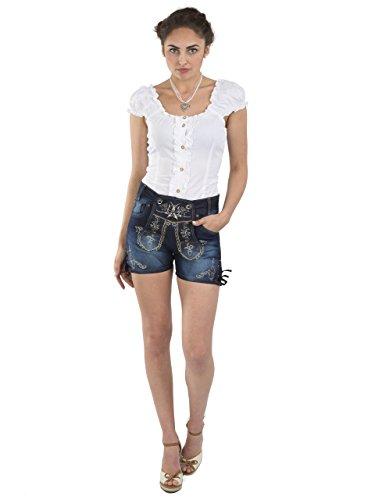 Damen Trachtenjeans Schöneberger - Jeans Hotpants - Denim Lederhose Oktoberfest (38, Blau - Trachtenjeans)