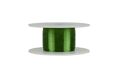 TEMCo 40 AWG Copper Magnet Wire - 2 oz 3990.25 ft 155°C Magnetic Coil Green