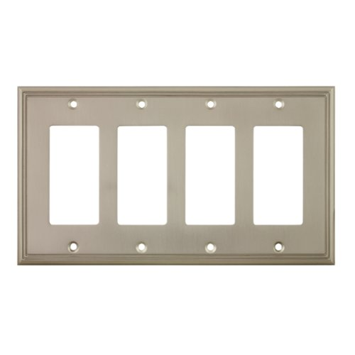 Cosmas 65075-SN Satin Nickel Quad GFI / Decora Rocker Wall Switch Plate Switchplate (Quad Switch)