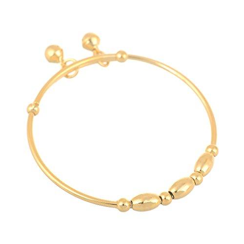 [24k Gold Filled Baby's Bangle Adjustable Children's Bracelet with 2 Bells (2pcs/lot)] (Gold Adjustable Baby Bangles)