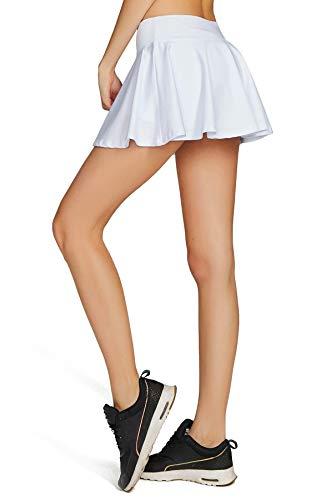 Cityoung Women Running Golf Skort Plus Size Pocket Girl Athletic Tennis Skirt Shorts Underneath l White