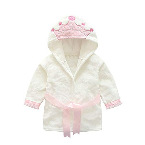 Mayunn 0-6T Baby Boy Girl Velvet Bathrobe Robe Crown Hooded Towel Pajamas Clothes (18-24Months)
