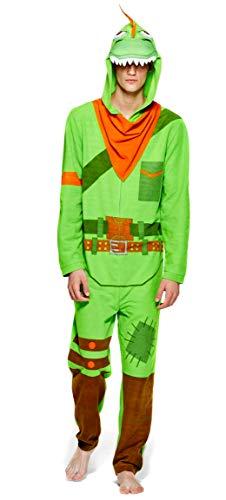 Epic Games Fortnite Mens Rex Onesie Costume Pajama, Adult Men Size M Green/Orange