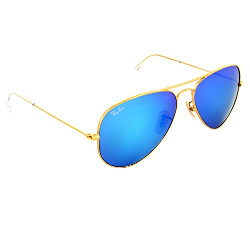 Ray-ban Blue Mirror Flash Aviators 3025 112/17 55mm + SD Glasses + Cleaning - Flash Aviator Blue Ray Ban