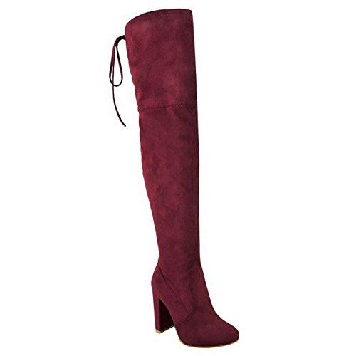 Femmes - Bottes extensibles hauteur cuisse dessus genou talon bloc mi-haut Bordeaux Bordeaux Extensible Cuir Suédé T46AYX