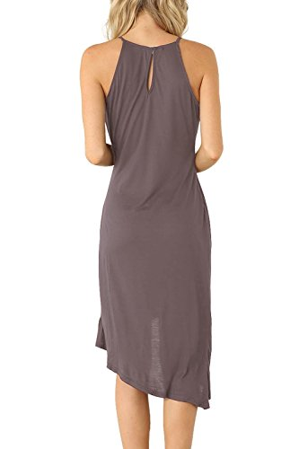 Bodycon Women's Summer Spaghetti Dark Sleeveless Strap Eliacher Casual Grey Dress Party Dresses Midi BYwAIBqd