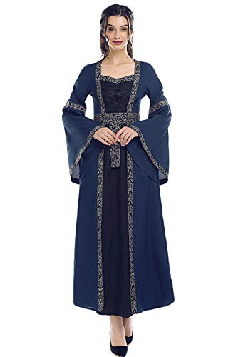 Renaissance Medieval Women's Victorian Irish Gown Costume Long Dress (Large, Dark -