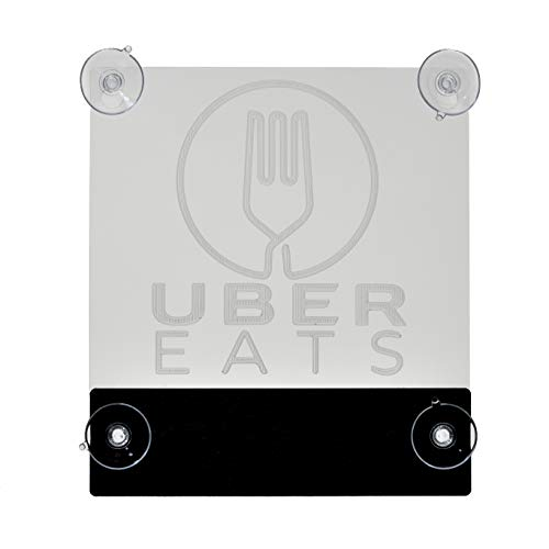 Acryled designs UBER EATS Sign Glow LED Light Logo Removable Car Driver Window Decal Sticker w Rechargeable Batteries - Taxi Rideshare Accessories Bundle