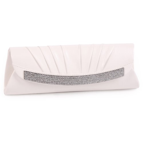 Magnetic Front Flap (Damara Women's Satin Pleated Magnetic Front Flaps Clutch Evening Bag,White)