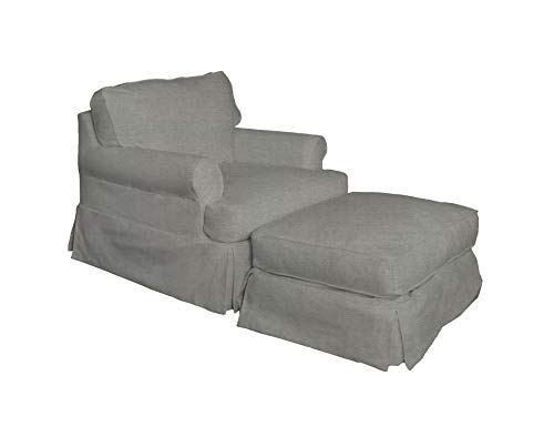 Sunset Trading SU-117620SC-30-391094 Horizon Chair and Ottoman SLIPCOVER ONLY Grey