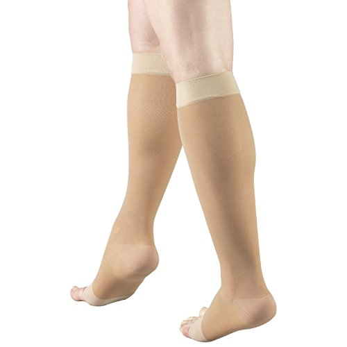 Truform Sheer Compression Stockings, 15-20 mmHg, Women's Knee High Length, Open Toe, 20 Denier, Light Beige, X-Large