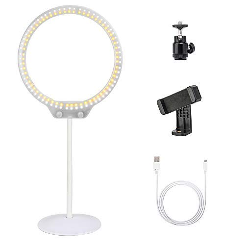 Zomei Tabletop Dimmable LED Ring Light Portable Selfie 3200K-5500K Ring Light for Makeup DSLR Camera iPhone Sumsang Phone YouTube Video Shooting(White)