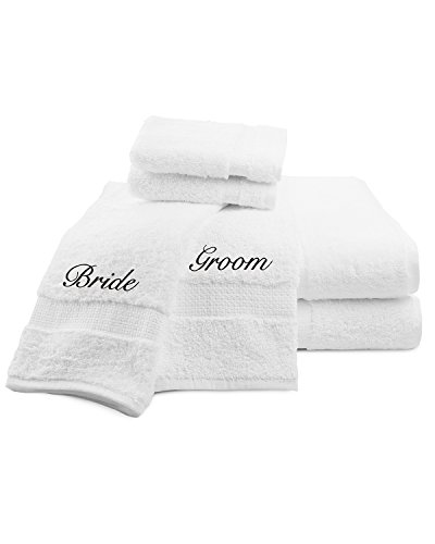 Luxor Linens Signature Egyptian Cotton 6-Piece Turkish Towel Set with Couple's Embroidery - Perfect Wedding Gift! (Bride/Groom)