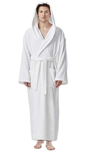 (Arus Men's Hooded Classic Bathrobe Turkish Cotton Robe with Full Length Options (L/XL Long,White))