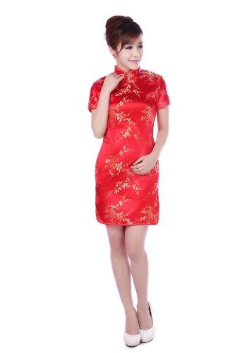 JTC Women's Chinese Red Short Cheongsam Dress 1pc (2/4) by Jtc