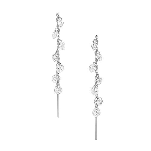 - 14K White Gold Or Rose Gold Hand Made Round CZ Threader Drop Earrings