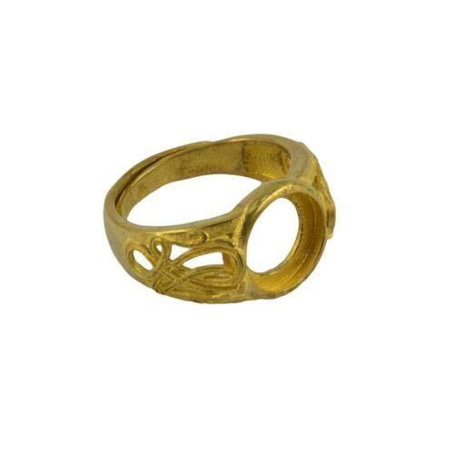 FidgetKute Vintage Brass Bezel 3D Pattern Blank Bezel for Jewelry Makings Design Crafts 10mm Gold Filigree Artificial ()