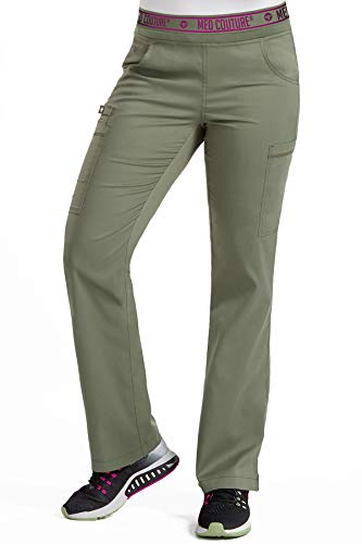 Med Couture Touch Women's Yoga 2 Cargo Pocket Scrub Pant, Olive, Small Petite