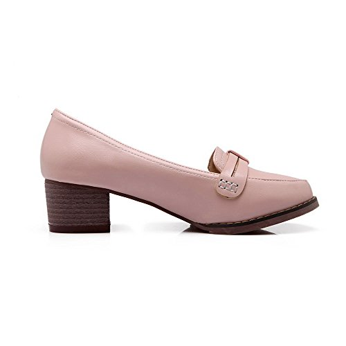 AllhqFashion Pumps Pink Round Closed Solid Heels Womens Kitten Toe Pull On PU Shoes RqwrRxpvOA