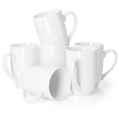Tea Mug Set - Teocera Porcelain Mug - Glossy White Mug Set with Comfortable Handle, Perfect for Coffee, Teabag, Kinds of Beverage.