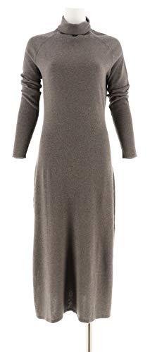 Halston Silk-Cashmere Blend Turtleneck Dress A279999, Heather Oyster, XS