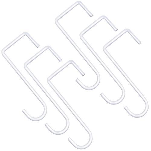 ESFUN 6 Pack 2 x 6 inch Vinyl Fence Hooks Patio Hooks White Powder Coated Steel Hangers fits Easily for Indoor & Outdoor Hanging Lights, Plants & Planters, Bird Feeder, Pool Equipment