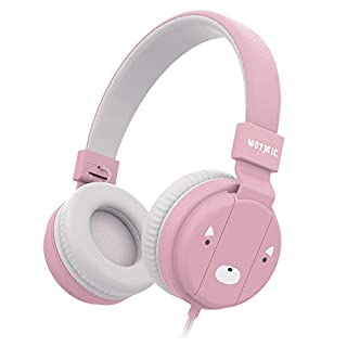 Kids Headphones, Wotmic Wired Headset Foldable Children On Ear Headphones with Adjustable Headband, Stereo Sound,3.5mm Jack for iPad Cellphones Airplane School-Pink