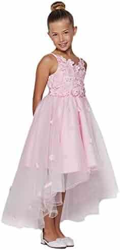ca38eb1111db49 Big Girls Pink 3D Floral Applique Hi-Low Tulle Junior Bridesmaid Dress 10