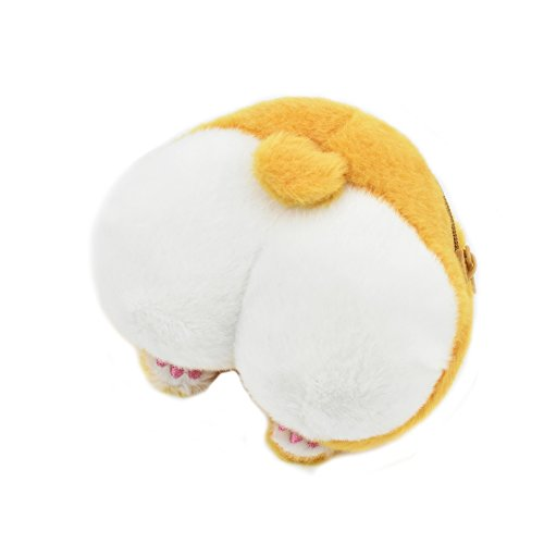 Corgi Dog Butt Small Coin Purse Cute Cartoon Mini Plush Zipper Money Wallet for Kids Girls Women Funny Birthday Christmas Gift