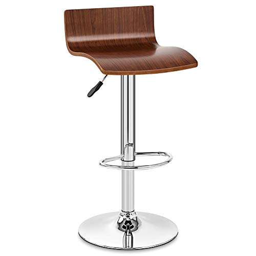 LIQICAI Bar Stool Solid Wood Seat Steel Frame Adjustable Height Swivel Chairs Tall Bar Stool Footrest Large Base Extremely Comfy (Color : Brown)