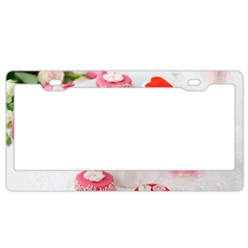 Car License Plate Frame,Dessert Frosting Hearts Jewelry Roses Bouquet Alumina License Plate Covers