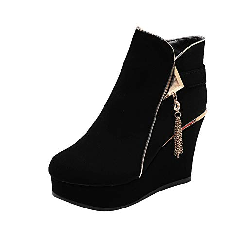 XoiuSyi Fashion Women's Round Toe High Heels Thick Sole Shoes Zipper Wedges Wild Retro Ankle Boot