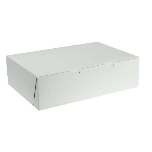 "Price comparison product image Southern Champion Tray 1025 Premium Clay Coated Kraft Paperboard White Non-Window Cake Box 14"" Length x 10"" Width x 4"" Height, 1/4 Sheet, Lock Corner, 1 Piece (Case of 100)"
