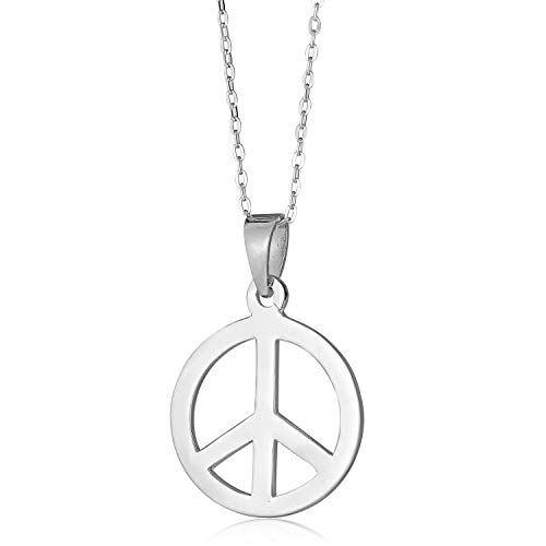 AVORA 925 Sterling Silver Peace Sign Pendant with 18