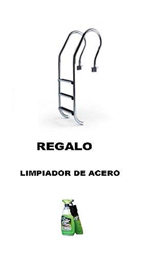 YMBERSA Escalera para piscina con pasamanos de 3 peldaños. Acero inoxidable. REGALO Limpiador de acero: Amazon.es: Jardín