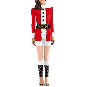 Fixmatti Women Mrs Santa Costume Jumpsuit Holiday Party Performance Suit S