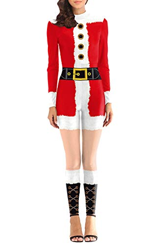 Fixmatti Women Mrs. Santa Costume Jumpsuit Holiday Party Performance Suit S]()