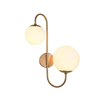 "KunMai Modern Chic Milky White Glass Globe Two-Light Indoor Wall Lamp in Aged Brass for Bedroom Bathroom Hallway - Dimension of Light Fixture:11.8""D x 22.4""H (300mmD x 570mmH); Backplate Diameter: 4.7""/120mm Modern Design: Milky white globes accented by the sleek scroll arm give a fancy modern update to any home decor. Easy to Install: This fixture does need to be hard wired. Minimal assembly is required. The arm cannot swing. - bathroom-lights, bathroom-fixtures-hardware, bathroom - 31tdSzoa4%2BL. SS400  -"