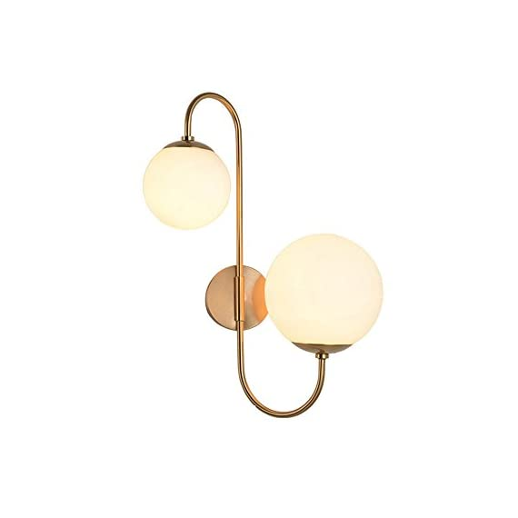 """KunMai Modern Chic Milky White Glass Globe Two-Light Indoor Wall Lamp in Aged Brass for Bedroom Bathroom Hallway - Milky white globes accented by the sleek scroll arm give a fancy modern update to any home decor. White glass and durable metal in aged brass complement each other and enhance the modern sleek look.The arm cannot swivel. Dimension of Light Fixture: 11.8""""D x 22.4""""H (300mmD x 570mmH) - bathroom-lights, bathroom-fixtures-hardware, bathroom - 31tdSzoa4%2BL. SS570  -"""