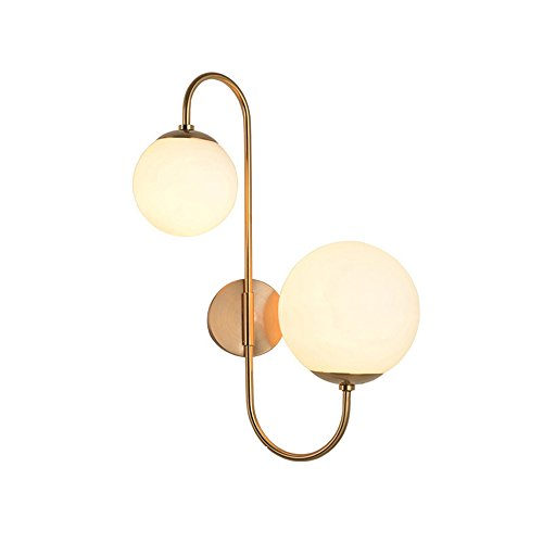 KunMai Modern Chic Milky White Glass Globe Two-Light Indoor Wall Lamp in Aged Brass for Bedroom Bathroom Hallway