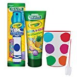 "Little Artist Inspired ""Crayola Crayon"" 4pc Bright Smile Oral Hygiene Set! Turbo Powered Toothbrush, Brush Cover, Toothpaste & Mouthwash Rinse Cup! Plus Bonus ""Remember to Brush"" Visual Aid!"