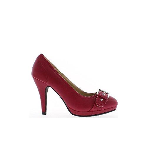 Escarpins femme rouge mat à talon fin de 10cm et plateau de 1,5cm