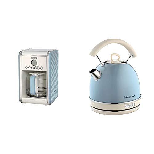Ariete 1342 Cafetera de goteo vintage, 2000 W, 2.1 litros, Acero Inoxidable, Azul + 2877/05 Hervidor Vintage, 2200 W, 1…