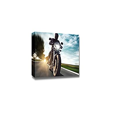 Canvas Prints Wall Art - Man Riding a Motorbike/Motorcycle | Modern Wall Decor/Home Art Stretched Gallery Wraps Giclee Print & Wood Framed. Ready to Hang - 16