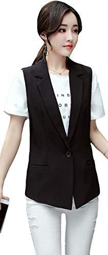 タンクレールそれらMengFan レディース スーツ ベスト ジレ 秋 ショート ノーカラー テーラードジャケット 袖なし 黒 ビジネス シンプル アウター トップス スリム 通勤 フォーマル カジュアル 女性用