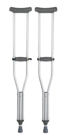 McKesson Push-Button Aluminum Crutches with Euro-Style Clip - 350 lbs. Capacity - 8 Each / Case - 14083880