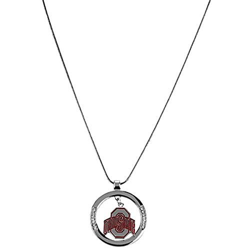 Rosemarie Collections Women's Ohio State Buckeyes OSU Rhinestone Hoop Pendant Necklace